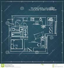 Floor Plan Blueprint Blueprint Studio Apartment Stock Vector Image 68167419