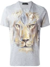lion print etro lion print t shirt in gray for men lyst