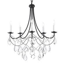 Black Mini Chandelier Dining Room Black Fixture 8 Light Wrought Iron Material
