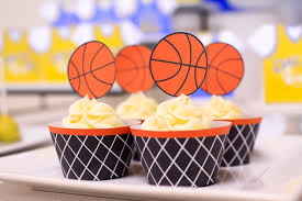 printable basketball cupcake topper and cupcake wrapper