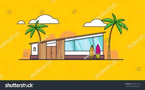 modern beach house surfboard on yellow stock vector 360821168