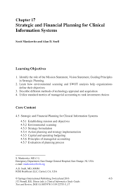 strategic and financial planning for clinical information systems