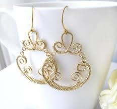gold chandelier earrings gold brass chandelier wire wrapped chandelier earrings fancy