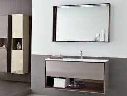 Wood Framed Bathroom Vanity Mirrors Bathroom With Wood Framed Mirrors And Shell Sconce Lighting At