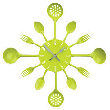 premier housewares cutlery wall clock lime green amazon co uk