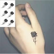 shnapign black rose flash tattoo hand sticker 10 5 6cm small