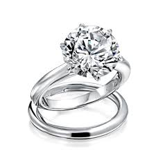 silver bridal rings images Round 3 5ct solitaire cz engagement wedding ring set jpg