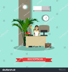 Standing Reception Desk by Vector Illustration Young Woman Receptionist Standing Stock Vector
