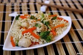 cuisine peu calorique nouilles sautées au poulet mariné carottes et brocolis amandine