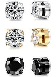 mens earrings uk besteel jewelry 3 pairs stainless steel magnetic stud women and