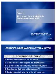 cisa tema 1 el proceso de auditoria de sistemas de ion ado