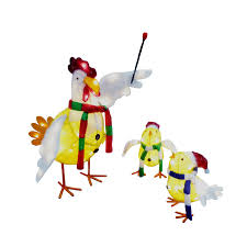Lowes Holiday Decorations Shop Holiday Living 3 Piece Tinsel Chicken Outdoor Holiday