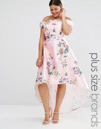 chi chi london plus printed bardot maxi dress with hi lo hem multi