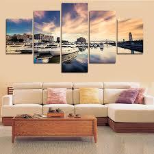 debonair new piece sea plus ship big size wall art home decor set