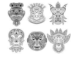 6 african masks africa coloring pages adults justcolor
