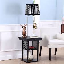Nightstand Lamp With Usb Port 2 In1 Floor Lamp Side Table With Patterned Shade And Usb Ports