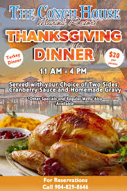 upcoming events thanksgiving dinner at the conch house the