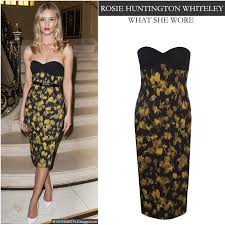 what she wore rosie huntington whiteley in strapless leaf print
