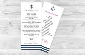 where to print wedding programs nautical wedding program template 4 x9 25 navy anchor striped