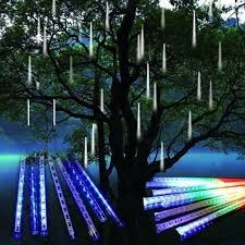 shooting star icicle lights eu us plug 8 tubes rain drop icicle snow fall string led christmas