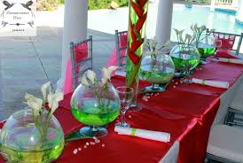 fish bowl centerpieces luxury destination weddings in jamaica bold tropical
