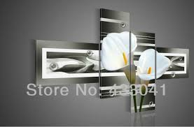modern art for home decor hand painted grey yellow white calla lily flower oil painting on