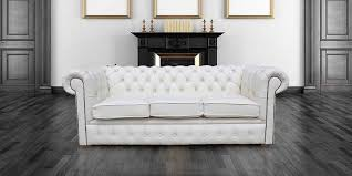 White Leather Chesterfield Sofa White Chesterfield 3 Holyrood Seater Sofa Designersofas4u