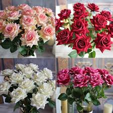 Fake Flowers For Wedding Sale Single Fabric Rose Artificial Fake Flower Bouquet Wedding