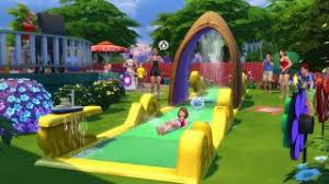 whee check out the lawn water slide in the sims 4 backyard stuff