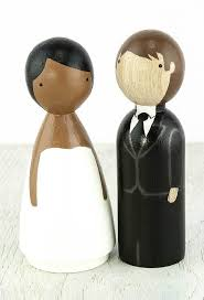 wood peg doll wedding cake topper african american