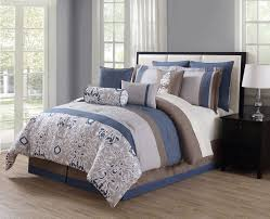 Bedding Set Queen by Piece Chloe Navy Gray Taupe Reversible Comforter Set