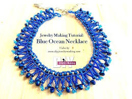 blue beaded necklace images Blue ocean beaded necklace making video tutorial jpg