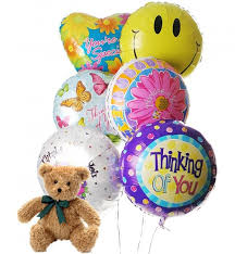 teddy balloons thinking of you balloons 6 mylar balloons