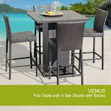 Wicker Patio Table And Chairs 3pccker Bar Set Patio Outdoor Backyard Table Stools Rattan Resin