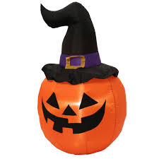 halloween inflatable home accents holiday 5 ft inflatable outdoor pumpkin with witch