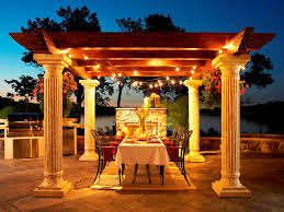 deluxe exterior oak wood topper and concrete pillars gazebo