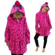 trolls poppy official hooded pink fleece girls dressing gown