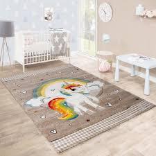 tapis pour chambre tapis pour enfant chambre d enfants arc en ciel licorne beige blanc