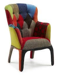 fauteuil design tissu fauteuil patchwork capitonné en tissu design frank