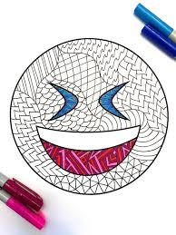 laugh emoji zentangle coloring page zentangle pinterest