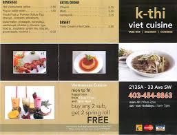 cuisine viet k thi viet cuisine menu menu for k thi viet cuisine south calgary