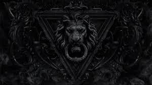wallpaper black metal hd digital art dark decorations monochrome gothic lion door