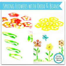 vegetable prints making spring flowers with okra u0026 beans artsy
