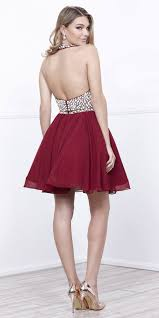 open back two piece halter short prom dress beaded top burgundy