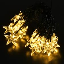 Solar White Christmas Lights by Agptek 20 Led Solar Star Powered Outdoor String Lights Waterproof