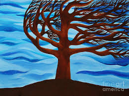 tree blowing in the wind painting by janell r colburn