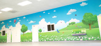 blog wall glamour brooklyn playgroup preschool wall mural colourful countryside theme