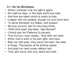On His Blindness John Milton Meaning Lecture 7 John Milton Paradise Lost Milton U0027s Sonnets Ppt Download