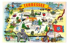 Map Of Tennessee State Parks by Greetings Tennessee State Map Cities Attractions Industry Vtg Postcard