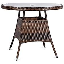 outdoor wicker dining table amazon com luckup 36 patio outdoor wicker rattan dining table